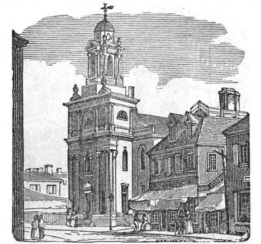 engraving of a wooden church building with steeple
