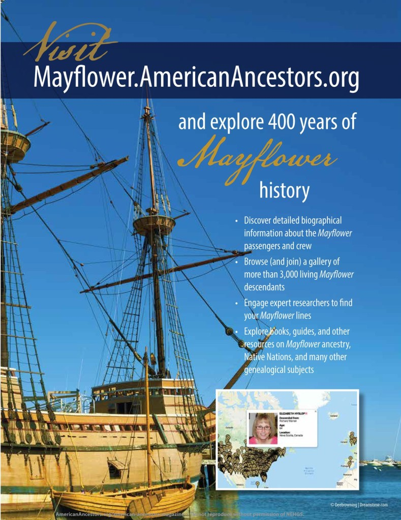 Cover of Vol. 20.4 featuring the Mayflower American Ancestors website