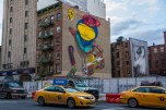 MANHATTAN -February 2, 2017: mural by Os Gemeos at 2nd Avenue and Houston. The mural pays tribute to the golden era of hip hop.