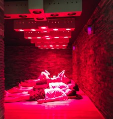 QUEENS - February 4, 2017: spa-goers lounge under the infra-red sauna lights at Spa Castle in Queens.
