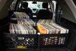 A trunk loaded with crates of records on 5th Avenue in Brooklyn.