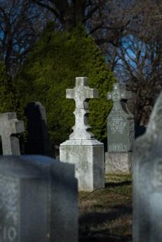 Headstones in Holy Cross Cemetery in East Flatbush.