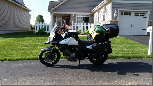 2015 Suzuki V-Strom 650 packed for travel