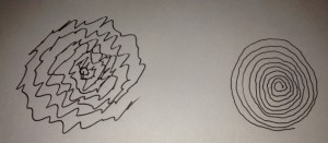 DBS off and DBS on - drawing a freehand spiral