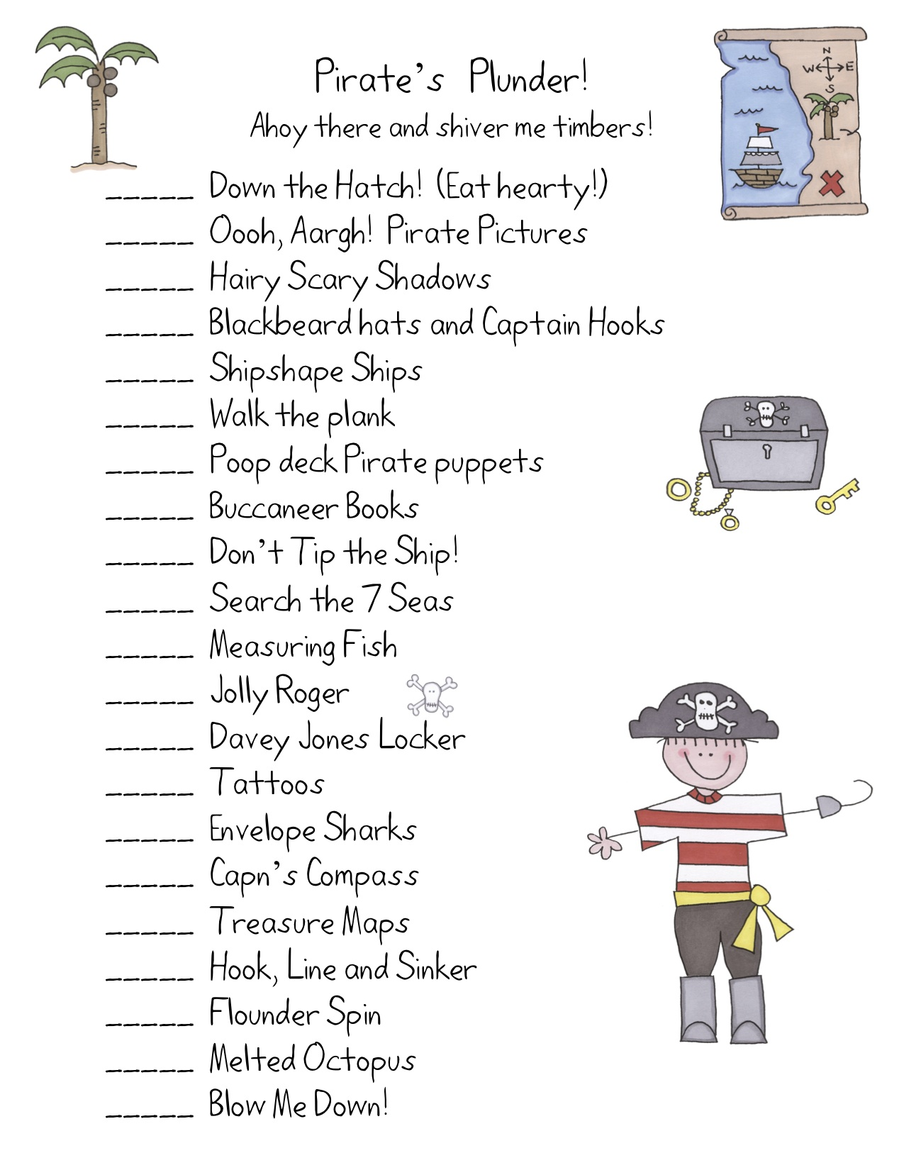 Pirate Themed Math Worksheet For Preschoolers