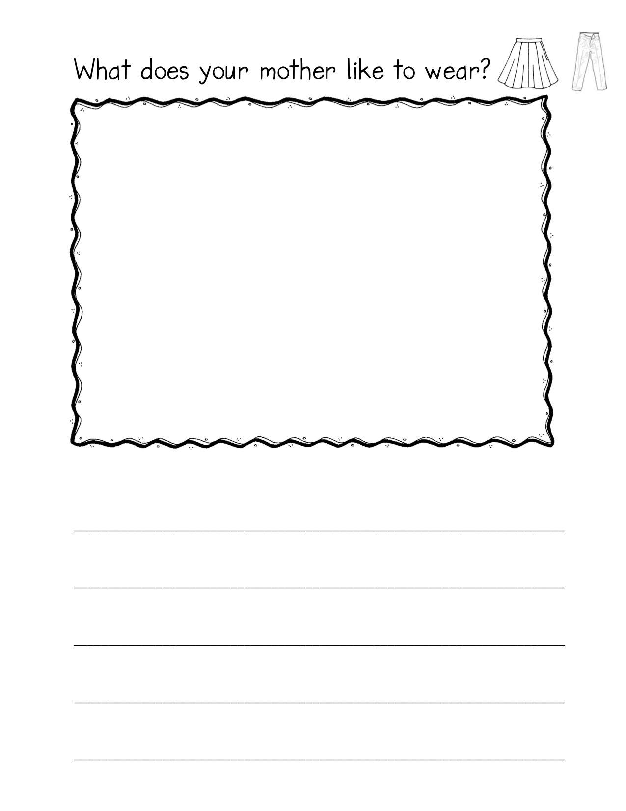 Preschool Writing Paper With Drawing Box