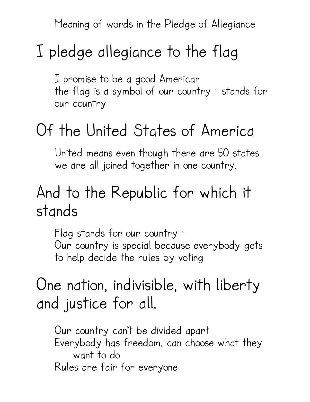 Pledge Of Allegiance Vocabulary And Symbols