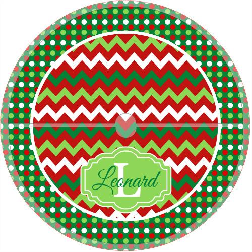 Monogrammed Christmas Tree Skirt Chevron & Dots