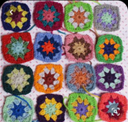 crocheted squares with flower pattern