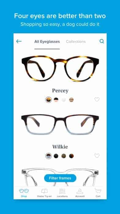A photo of Warby Parker, Top Mobile App UI of 2017