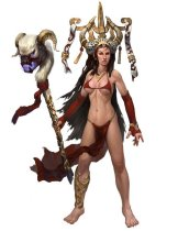 Almost naked except for a strip of fabric covering her breasts, a g-string/loincloth on her legs and an absurd hat.