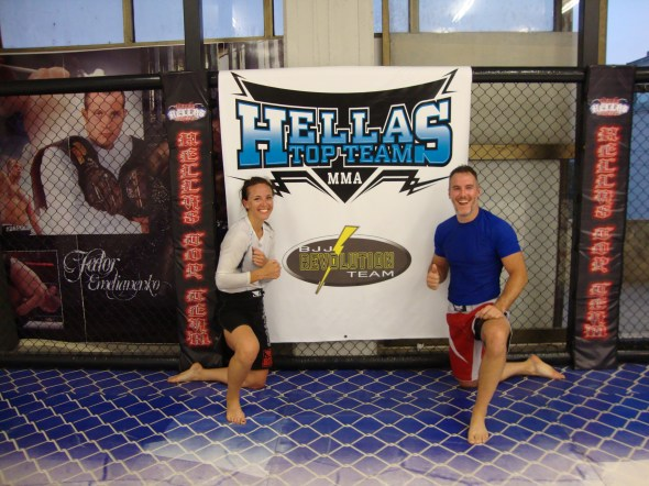 Brent and Stephanie at Hellas Top Team, a BJJ Revolution affiliate in Athens, Greece