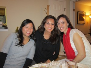 Liz, Minette and and Stephanie in holiday spirit