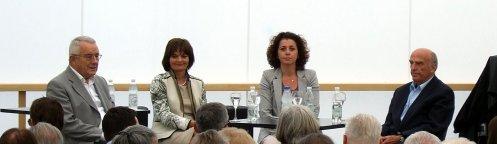 Arnold Koller, Ruth Metzler, Moderatorin Beatrice Gmünder, Hans-Rudolf Merz