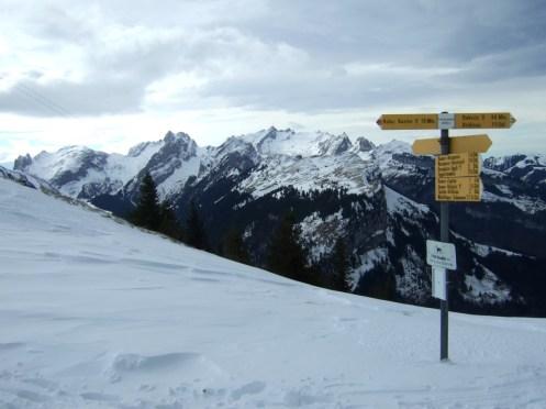 Wegweiser auf Kammhöhe, Blick zum Säntismassiv.
