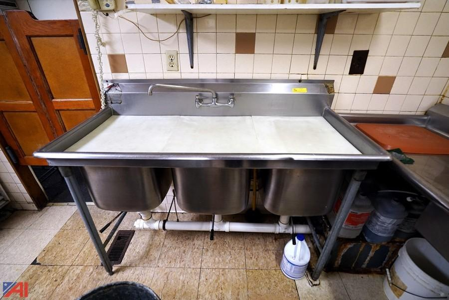 eagle stainless steel 3 bay sink