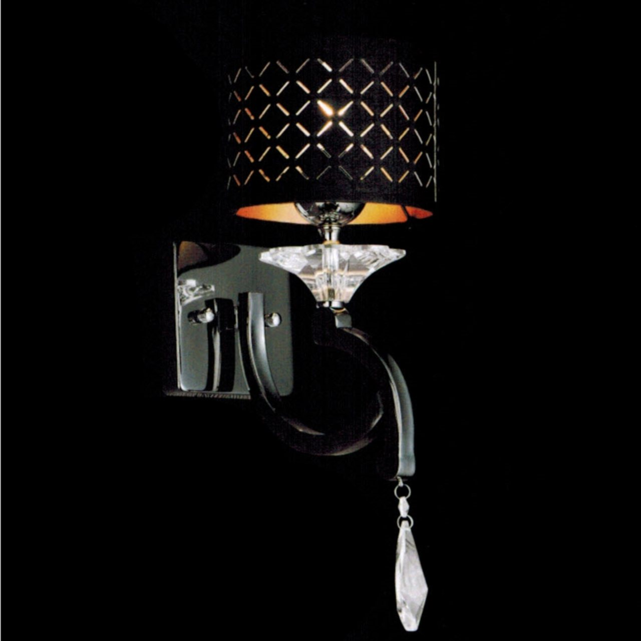 """Brizzo Lighting Stores. 8"""" Bello Nero Contemporary Crystal ... on Modern Wall Sconces id=31308"""