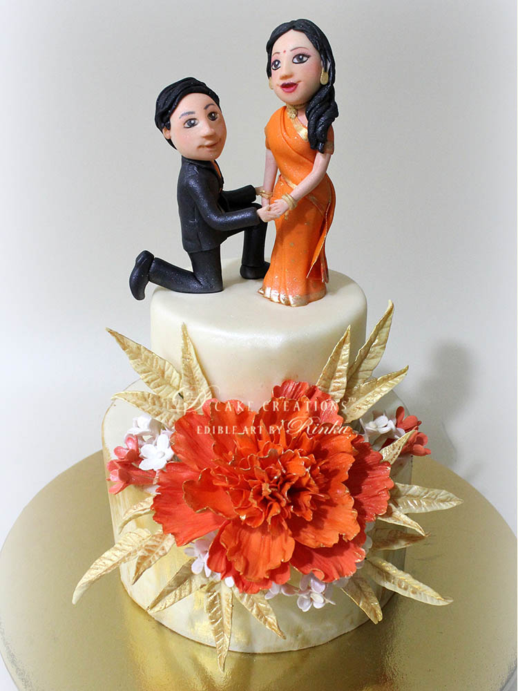 Engagement Cakes   D Cake Creations Couple Topper Engagement Cake