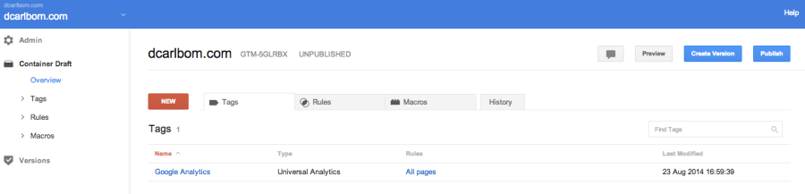 Google_Tag_Manager Publish Version