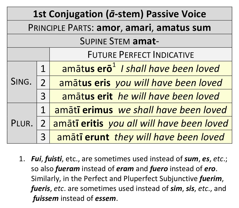 1st Conjugation Future Perfect Passive