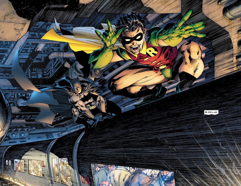Robin-Forefront-Batman-Riding-Train