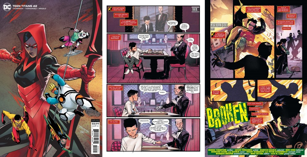 Teen Titans #42 Variant cover and pages 1 and 2