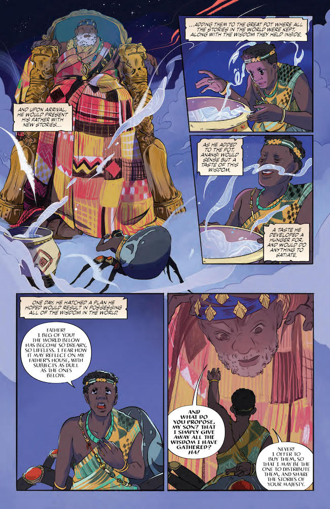 Anansi offers to buy the stories from his father