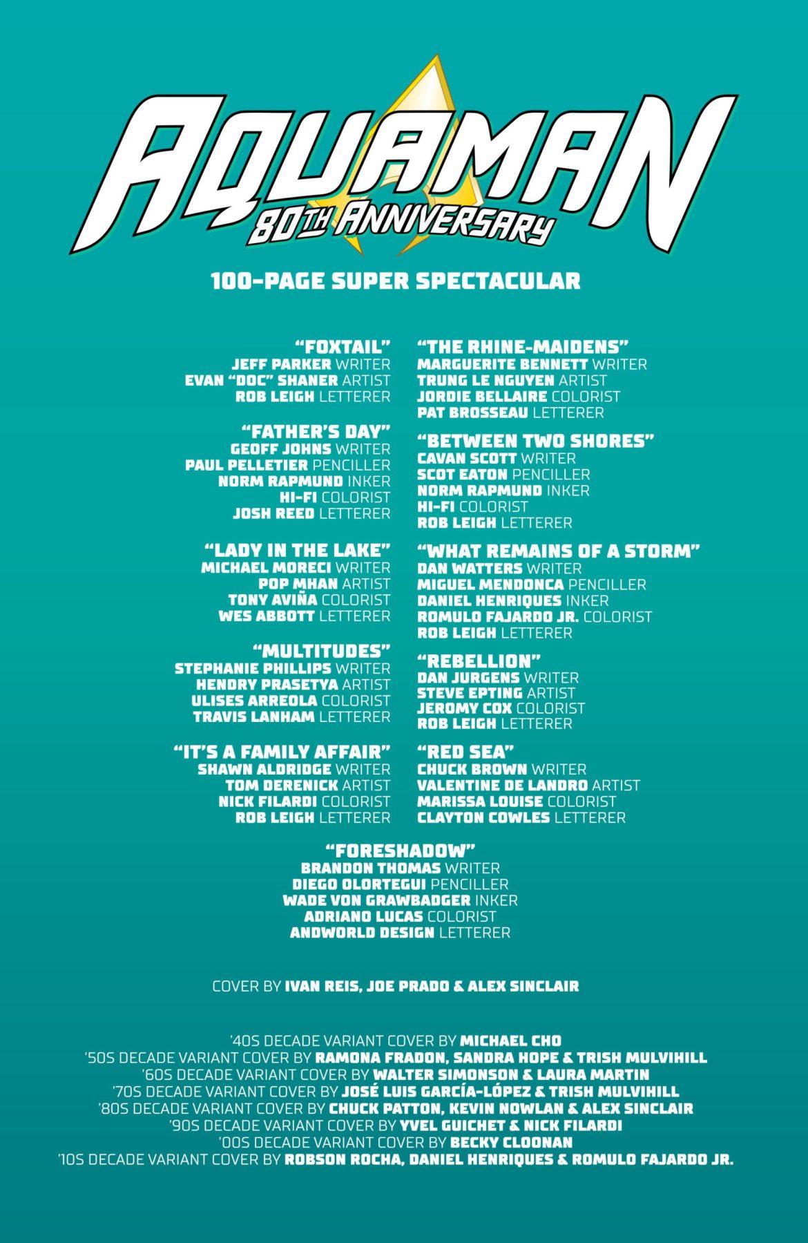 Aquaman 80th Anniversary Credits DC Comics News