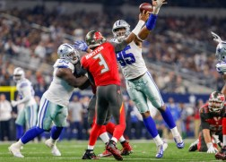 ARLINGTON, TX - DECEMBER 18: Dallas Cowboys Defensive End David Irving (95) blocks a pass by Tampa Bay Buccaneers Quarterback Jameis Winston (3) during the NFL Sunday night game between the Tampa Bay Buccaneers and Dallas Cowboys on December 18, 2016, at AT&T Stadium in Arlington TX. Dallas defeats Tampa Bay 26-20. (Photo by Andrew Dieb/Icon Sportswire)