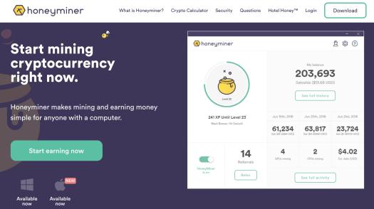 Honeyminer homepage screenshot