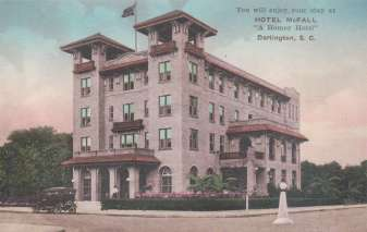 The exterior of The Hotel McFall circa 1928.