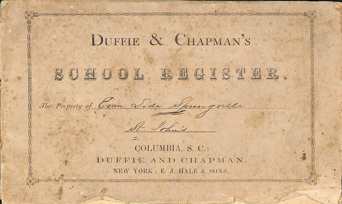 Cover of a 1869 School Register for St. John's Academy.