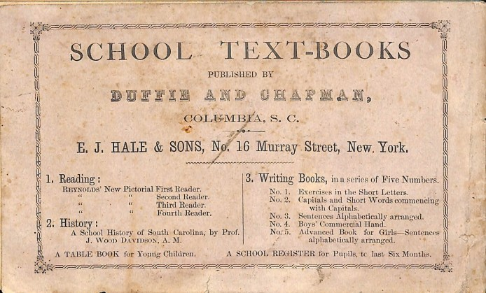 Back cover of the 1869 School Register for St. John's Academy.