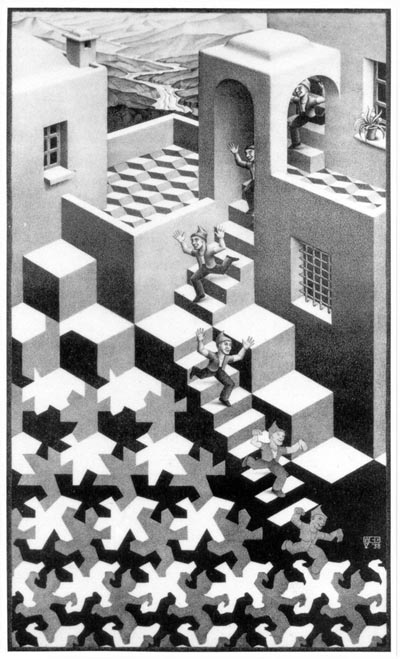 """""""Cycle"""", lithograph by M.C. Escher, 1938"""