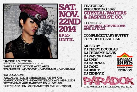 Happy Birthday Teddy Douglas feat Crystal Waters and Jasper St. Co. and Basement Boys Reunion at The Paradox