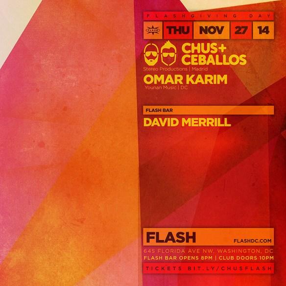 Flashgiving Day: Chus & Ceballos, Omar Karim at Flash with David Merrill in the Flash Bar