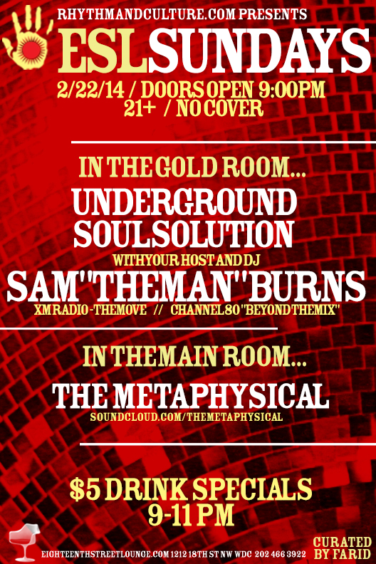 ESL Sundays with Sam Burns' Underground Soul Solution at Eighteenth Street Lounge