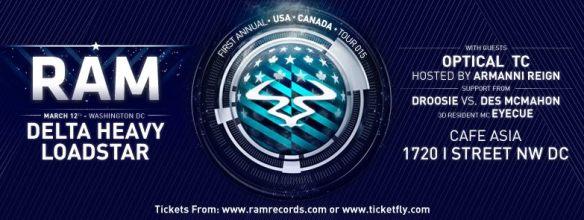 RAM Tour feat. Delta Heavy, Loadstar, Optical, TC + more at Café Asia