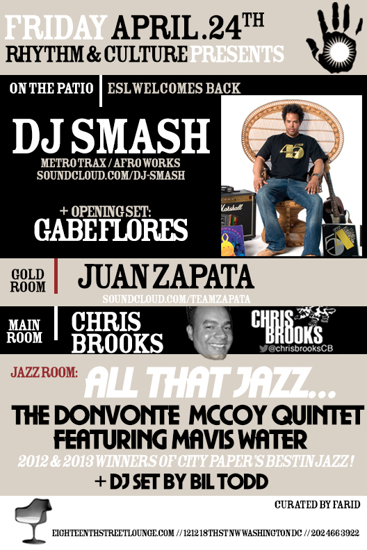 ESL Fridays with DJ Smash, Gabe Flores, Juan Zapata, Chris Brooks & Bil Todd at Eighteenth Street Lounge