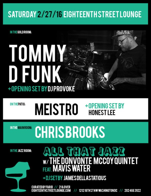 ESL Saturday with Tommy D Funk, Meistro and Chris Brooks at Eighteenth Street Lounge