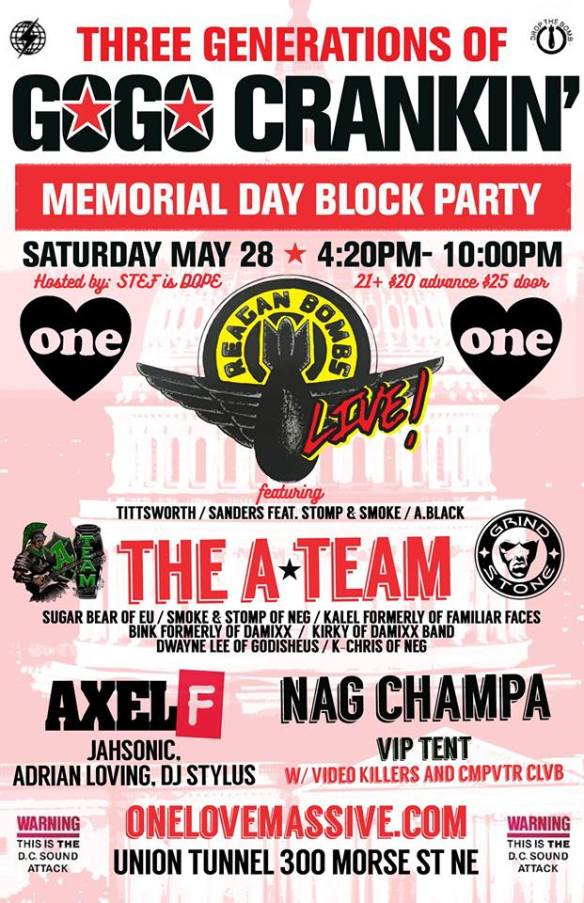 Three Generations of Go-Go Crankin! Memorial Day Block Party at 300 Morse Street
