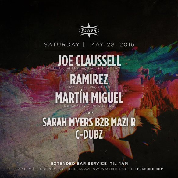 Joe Claussell with Ramirez and Martín Miguel at Flash, with Sarah Myers B2B Mazi and C-Dubz in the Flash Bar