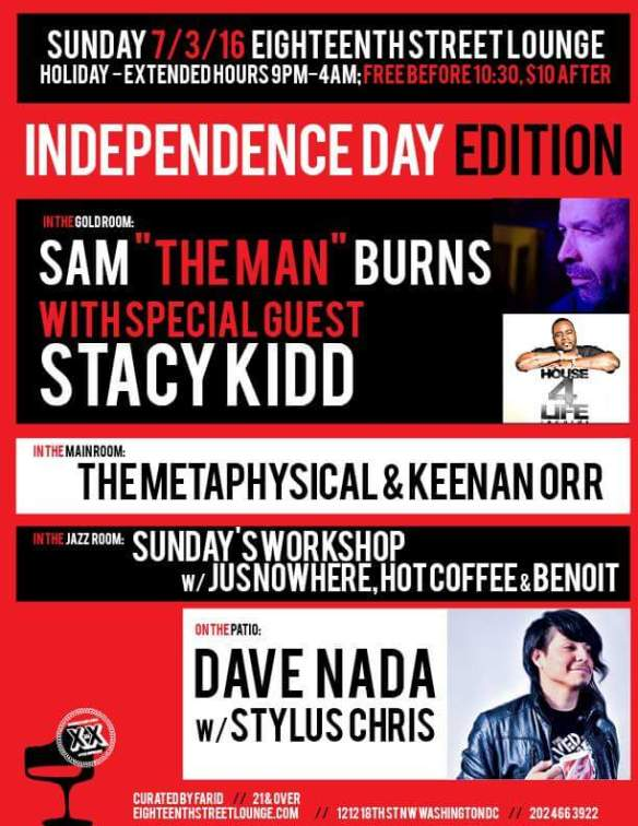 """ESL Sunday with Stacy Kidd, Sam """"The Man"""" Burns, The Metaphysical & Keenan Orr, Dave Nada Stylus Chris and Sunday's Workshop with Jusnowhere, Hot Coffee and Benoit at Eighteenth Street Lounge"""