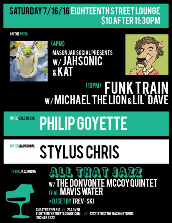 ESL Saturday with Mason Jar Social featuring Jahsonic & Kat, Funk Train with Michael the Lion & Lil' Dave, Philip Goyette, Stylus Chris and Trev-ski at Eighteenth Street Lounge