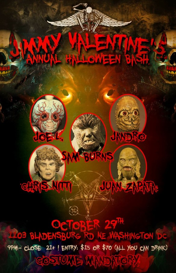 """The Annual Jimmy Valentine's Halloween Bash with Sam """"The Man"""" Burns, Chris Nitti, Juan Zapata, Joe L and Jandro at Jimmy Valentine's Lonely Hearts Club"""