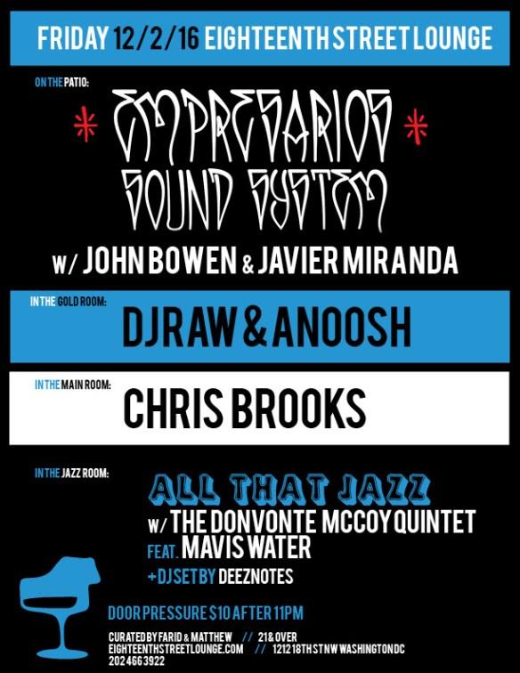 ESL Friday with Empresarios Sound System featuring John Bowen & Javier Miranda, DJ Raw & Anoosh, Chris Brooks and Deeznotes at Eighteenth Street Lounge