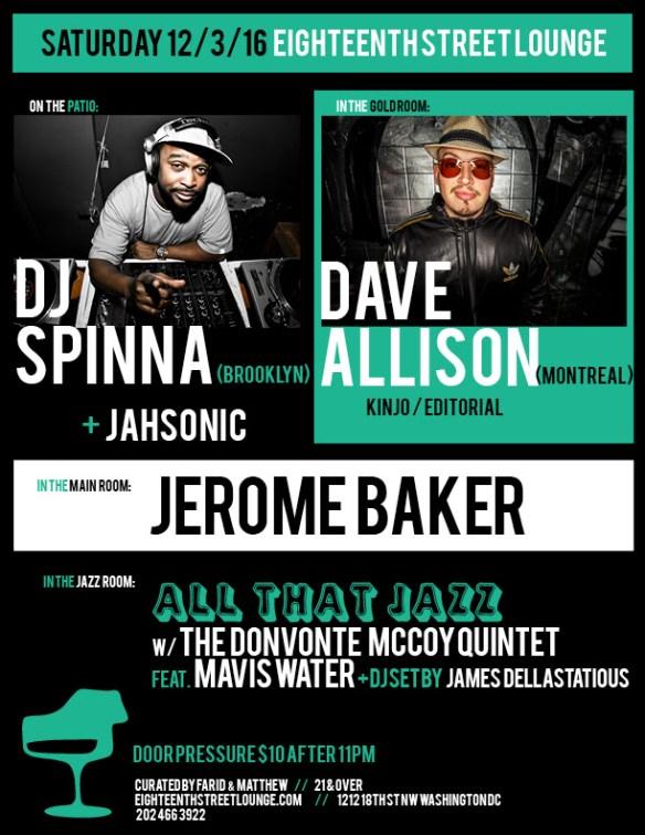 ESL Saturday with DJ Spinna, Dave Allison, Jerome Baker & James Dellastatious at Eighteenth Street Lounge