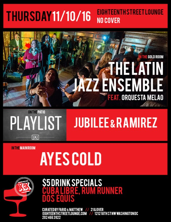 ESL Thursday with Ayes Cold and Playlist with Jubilee, Ramirez & Navbox at Eighteenth Street Lounge