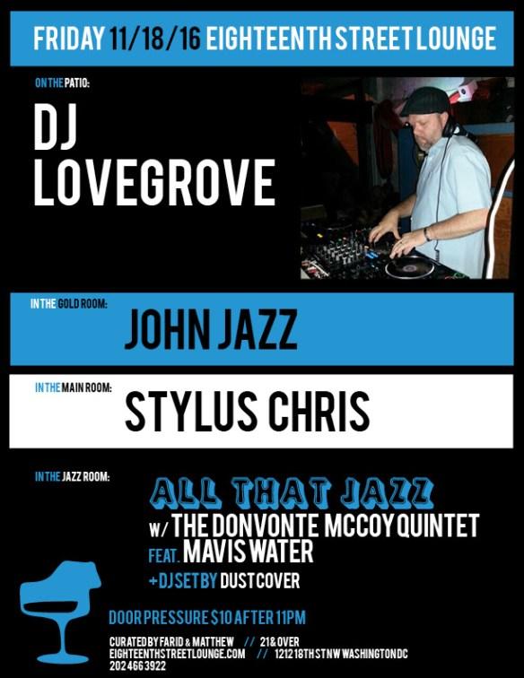 ESL Friday with DJ Lovegrove, John Jazz, Stylus Chris & Dustcover at Eighteenth Street Lounge
