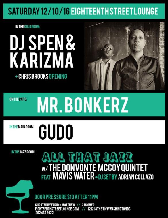 ESL Saturday with DJ Spen & Karizma, Mr Bonkerz, Gudo & Adrian Collazo at Eighteenth Street Lounge